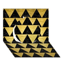 Triangle2 Black Marble & Gold Brushed Metal Circle 3d Greeting Card (7x5) by trendistuff