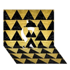 Triangle2 Black Marble & Gold Brushed Metal Ribbon 3d Greeting Card (7x5) by trendistuff