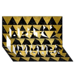 Triangle2 Black Marble & Gold Brushed Metal Best Wish 3d Greeting Card (8x4) by trendistuff