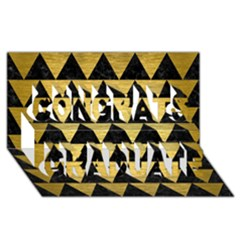 Triangle2 Black Marble & Gold Brushed Metal Congrats Graduate 3d Greeting Card (8x4) by trendistuff