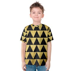 Triangle2 Black Marble & Gold Brushed Metal Kids  Cotton Tee by trendistuff