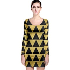Triangle2 Black Marble & Gold Brushed Metal Long Sleeve Bodycon Dress by trendistuff
