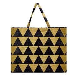 Triangle2 Black Marble & Gold Brushed Metal Zipper Large Tote Bag