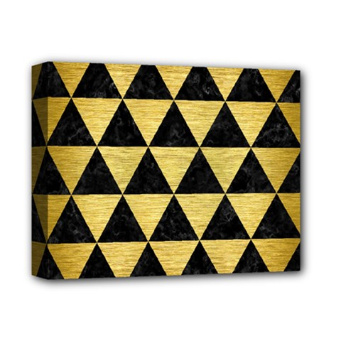 Triangle3 Black Marble & Gold Brushed Metal Deluxe Canvas 14  X 11  (stretched) by trendistuff