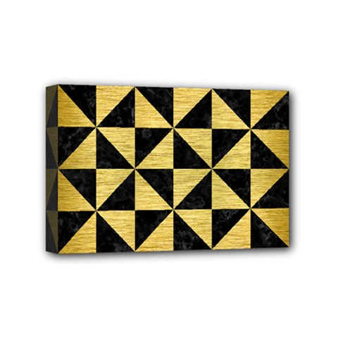Triangle1 Black Marble & Gold Brushed Metal Mini Canvas 6  X 4  (stretched) by trendistuff