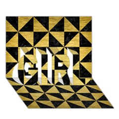 Triangle1 Black Marble & Gold Brushed Metal Girl 3d Greeting Card (7x5) by trendistuff