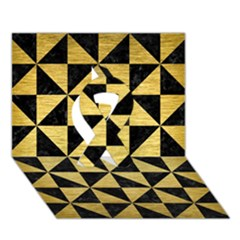 Triangle1 Black Marble & Gold Brushed Metal Ribbon 3d Greeting Card (7x5)