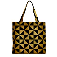 Triangle1 Black Marble & Gold Brushed Metal Zipper Grocery Tote Bag