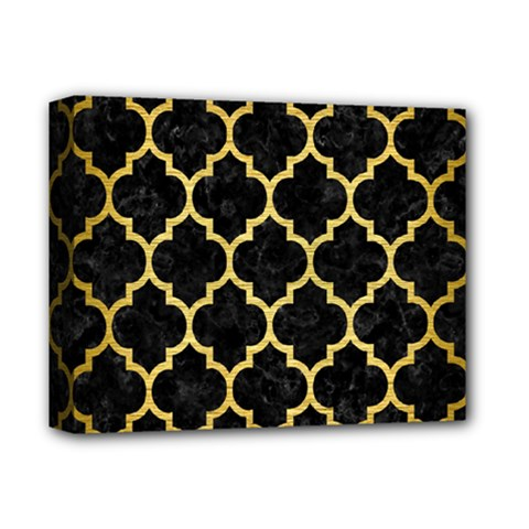 Tile1 Black Marble & Gold Brushed Metal Deluxe Canvas 14  X 11  (stretched) by trendistuff