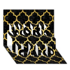 Tile1 Black Marble & Gold Brushed Metal Work Hard 3d Greeting Card (7x5) by trendistuff