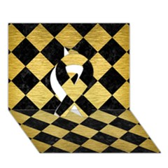 Square2 Black Marble & Gold Brushed Metal Ribbon 3d Greeting Card (7x5)