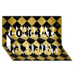 Square2 Black Marble & Gold Brushed Metal Congrats Graduate 3d Greeting Card (8x4) by trendistuff