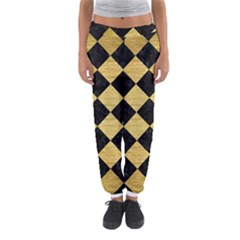 Square2 Black Marble & Gold Brushed Metal Women s Jogger Sweatpants