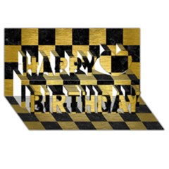 Square1 Black Marble & Gold Brushed Metal Happy Birthday 3d Greeting Card (8x4) by trendistuff