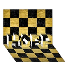 Square1 Black Marble & Gold Brushed Metal Hope 3d Greeting Card (7x5) by trendistuff