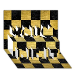 Square1 Black Marble & Gold Brushed Metal You Did It 3d Greeting Card (7x5) by trendistuff