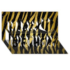 Skin3 Black Marble & Gold Brushed Metal Happy Birthday 3d Greeting Card (8x4)