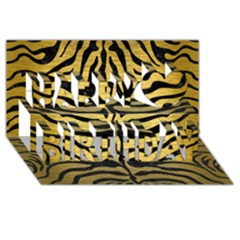 Skin2 Black Marble & Gold Brushed Metal (r) Happy Birthday 3d Greeting Card (8x4)