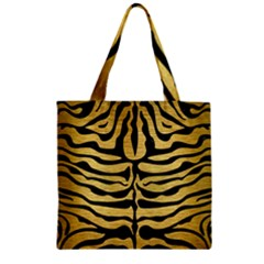 Skin2 Black Marble & Gold Brushed Metal (r) Zipper Grocery Tote Bag