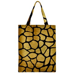 Skin1 Black Marble & Gold Brushed Metal Zipper Classic Tote Bag by trendistuff