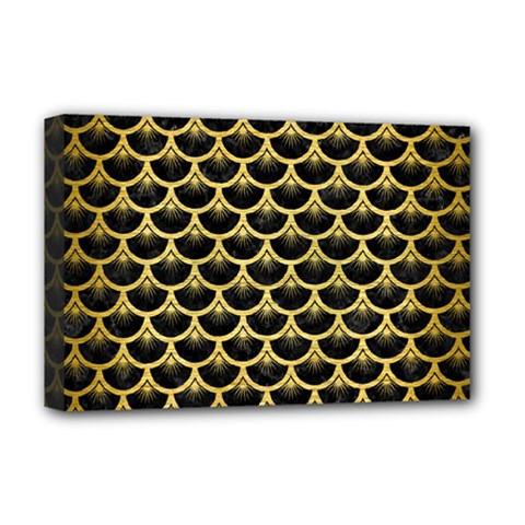 Scales3 Black Marble & Gold Brushed Metal Deluxe Canvas 18  X 12  (stretched) by trendistuff