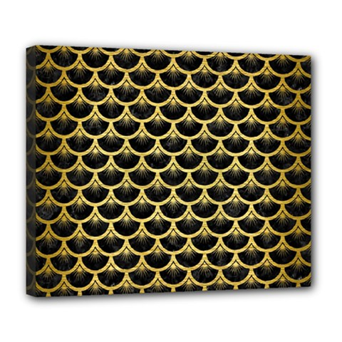 Scales3 Black Marble & Gold Brushed Metal Deluxe Canvas 24  X 20  (stretched) by trendistuff