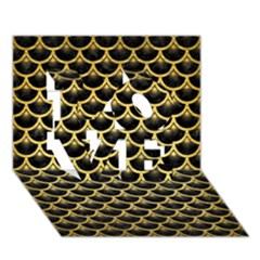 Scales3 Black Marble & Gold Brushed Metal Love 3d Greeting Card (7x5) by trendistuff