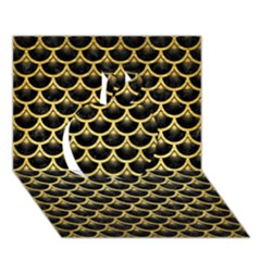 Scales3 Black Marble & Gold Brushed Metal Apple 3d Greeting Card (7x5) by trendistuff