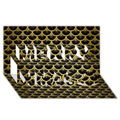 Scales3 Black Marble & Gold Brushed Metal Merry Xmas 3d Greeting Card (8x4) by trendistuff