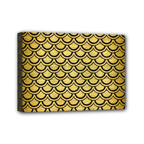 Scales2 Black Marble & Gold Brushed Metal (r) Mini Canvas 7  X 5  (stretched) by trendistuff