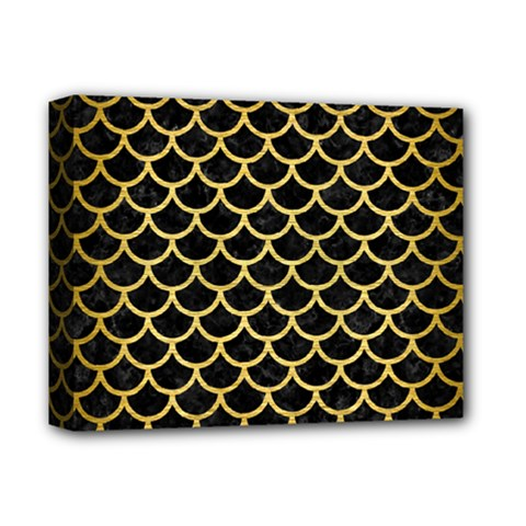 Scales1 Black Marble & Gold Brushed Metal Deluxe Canvas 14  X 11  (stretched) by trendistuff