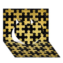 Puzzle1 Black Marble & Gold Brushed Metal Heart 3d Greeting Card (7x5) by trendistuff