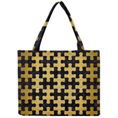 Puzzle1 Black Marble & Gold Brushed Metal Mini Tote Bag by trendistuff