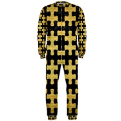 Puzzle1 Black Marble & Gold Brushed Metal Onepiece Jumpsuit (men)