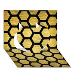 Hexagon2 Black Marble & Gold Brushed Metal (r) Heart 3d Greeting Card (7x5) by trendistuff