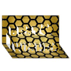 Hexagon2 Black Marble & Gold Brushed Metal (r) Best Wish 3d Greeting Card (8x4)
