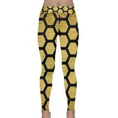 Hexagon2 Black Marble & Gold Brushed Metal (r) Classic Yoga Leggings by trendistuff