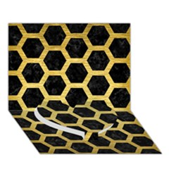 Hexagon2 Black Marble & Gold Brushed Metal Heart Bottom 3d Greeting Card (7x5) by trendistuff