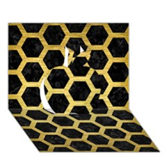 Hexagon2 Black Marble & Gold Brushed Metal Apple 3d Greeting Card (7x5) by trendistuff
