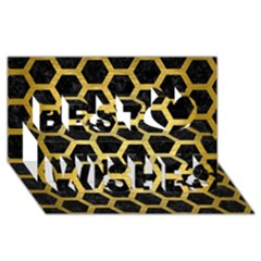 Hexagon2 Black Marble & Gold Brushed Metal Best Wish 3d Greeting Card (8x4) by trendistuff