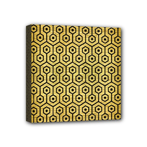 Hexagon1 Black Marble & Gold Brushed Metal (r) Mini Canvas 4  X 4  (stretched) by trendistuff