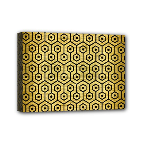 Hexagon1 Black Marble & Gold Brushed Metal (r) Mini Canvas 7  X 5  (stretched) by trendistuff