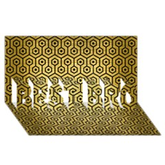 Hexagon1 Black Marble & Gold Brushed Metal (r) Best Bro 3d Greeting Card (8x4) by trendistuff