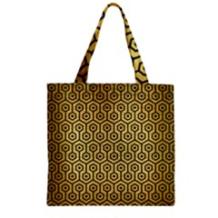 Hexagon1 Black Marble & Gold Brushed Metal (r) Zipper Grocery Tote Bag