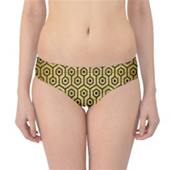 Hexagon1 Black Marble & Gold Brushed Metal (r) Hipster Bikini Bottoms by trendistuff