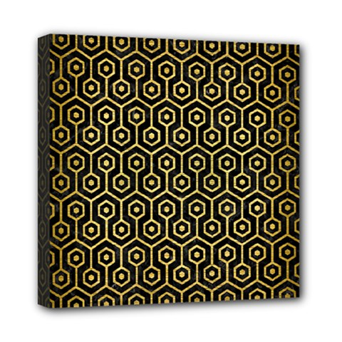 Hexagon1 Black Marble & Gold Brushed Metal Mini Canvas 8  X 8  (stretched) by trendistuff