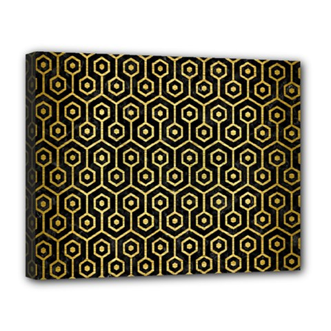 Hexagon1 Black Marble & Gold Brushed Metal Canvas 14  X 11  (stretched) by trendistuff