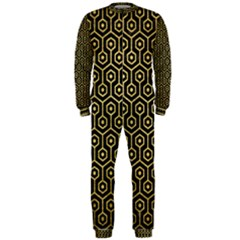 Hexagon1 Black Marble & Gold Brushed Metal Onepiece Jumpsuit (men) by trendistuff