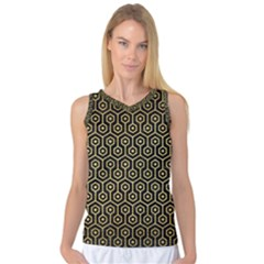 Hexagon1 Black Marble & Gold Brushed Metal Women s Basketball Tank Top by trendistuff