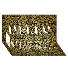 Damask2 Black Marble & Gold Brushed Metal (r) Merry Xmas 3d Greeting Card (8x4) by trendistuff